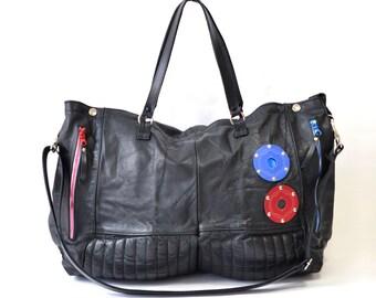 Shenzhou CZ-2C  - Black Leather Tote Bag Handmade SC16
