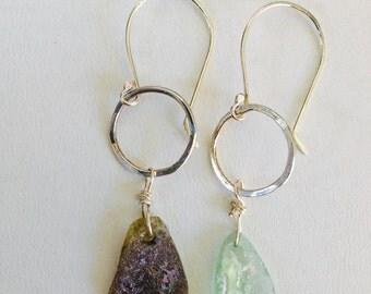 Ancient Roman Glass Earrings Simple Circles