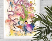 A3 Giclée Print • Illustration of the Chinese New Year Zodiac Animals: Dragon, Tiger, Monkey, Rabbit, Horse, Rooster, Snake, Pig and more!
