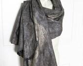 Hand Felted Scarf Wool Merino Yak Silk Soft Cobweb Silver Grey