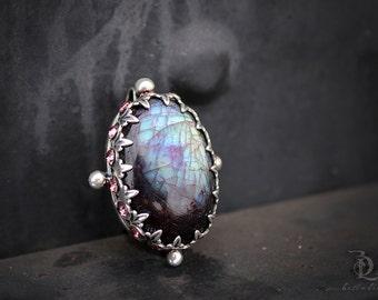 Pink Labradorite // Enchantress No. 5  // Pink Labradorite Swarovski Rhinestones Sterling Silver gemstone, welded by Bellalili