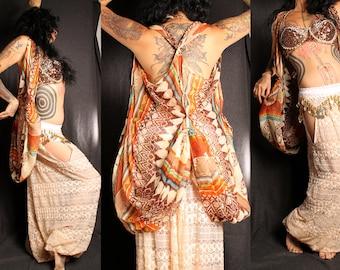 Tribal Layer Layer Top, Boho style coat shawl vest, sleeveless jacket, lightweight, Greek Goddess Halloween costume, racerback, Ethnic