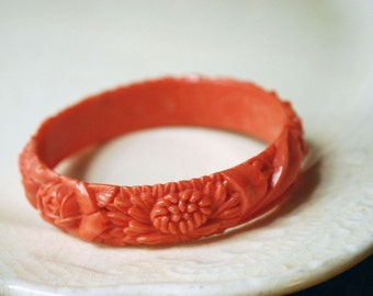 Coral Celluloid Bracelet, Vintage Bangle, Carved Floral Orange Jewelry, 1930s 1940s Boho Accessories, Plastic Roses Mums, Summer Fashion