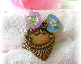 Vintage Heart Charm Ring Enamel Flower Bead Brass Adjustable Ring Victorian Style Blue White Floral Pink Bead