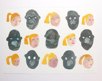 My Friend Monkey  - Original Faye Moorhouse collage painting illustration