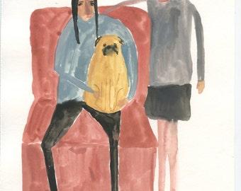 Original Illustration - Sisters and Pug