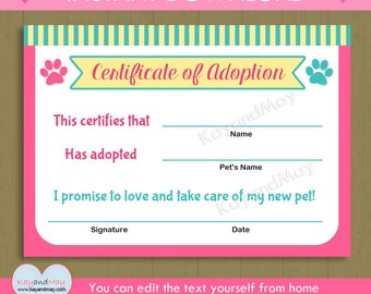 Printable Pet Adoption Certificate animal theme party cat dog puppy kitten paw print - INSTANT DOWNLOAD #P-39 - you can edit text from home