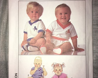 Uncut Vintage Simplicty Pattern No. 9183 - Size 6 months - Baby Rompers & Shoes