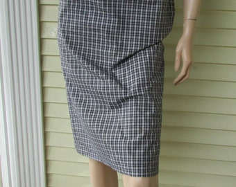50s Bombshell Pencil Skirt Vintage 1950s Jantzen Plaid Pin Up Vixen Wiggle Cotton XS-S