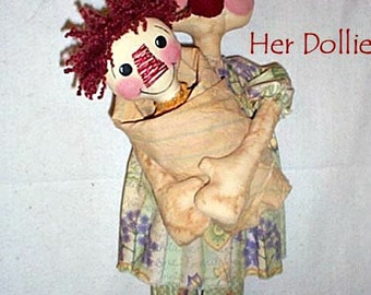 Rag Doll Pattern, Primitive Doll Pattern, Cloth Doll Pattern, Rag Doll Pattern, Raggedy Downloadable Pattern, E-Pattern, Annie & Her Dollie