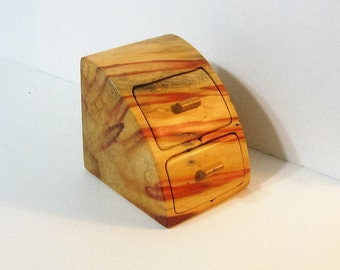 Treasure Box With Secret Drawer Made of Fancy Boxelder Wood