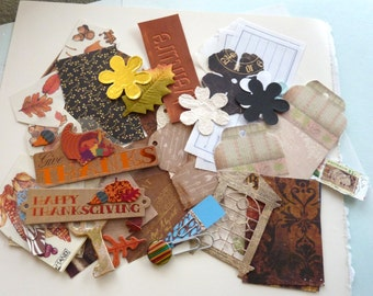 Thanksgiving Pocket Letter kit with pockets/ vintage Bo Bunny papers / Ephemera supplies / art cards /project life / scrapbooks, holiday