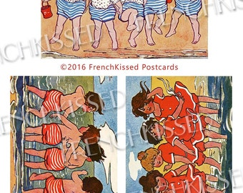 Beach Babies Victorian French Postcard Series 3 Red Blue and White 8x10 Digi Page Instant Download