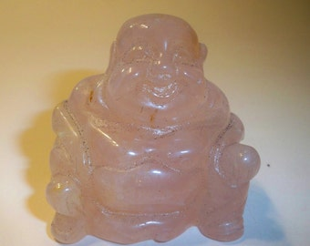 Carved Stone Buddha Figurine, Rose Quartz Buddha Carved & Polished, Spiritual, Metaphysical Collectible, Home Decor Figurine, Paperweight