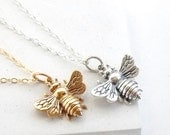 Large Bee Necklace | Queen Bee Necklace | Layering Necklace | Insect Jewelry | Charm Necklace | Silver or Gold