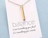 Rectangle Bar Necklace | Inspirational Jewelry | Inspirational Quote | Gold Bar Necklace | Minimal Simple Everyday Jewelry | Gold | W09