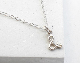Ampersand Charm Necklace | & Necklace | Ampersand Sign | Writers Typography Necklace | Cursive | Sterling Silver