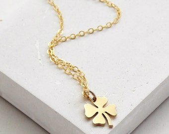 Four Leaf Clover Necklace | Good Luck Charm | St. Patrick's Day | Clover Charm Necklace | Silver or Gold