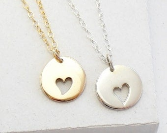 Heart Charm Necklace | Mothers Jewelry | Mother's Day Gift | Gift for Mom | Charm Necklace | Silver or Gold