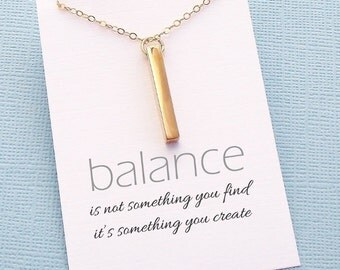 Rectangle Bar Necklace | Inspirational Jewelry | Inspirational Quote | Gold Bar Necklace | Minimal Simple Everyday Jewelry | Gold | W09