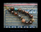 Artful Assemblage necklace, jawbreaker beads,  rich earthy natural colors