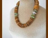 Urban Tribal necklace, art to wear sculptural design, turquoise, sterling silver, bone, beautiful texture