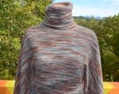 70s vintage turtleneck sweater SPACE DYE stripe dolman acrylic knit women's Small xs soft fuzzy