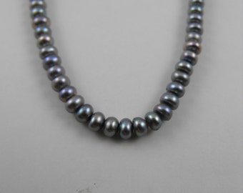 Perfectly Lilac Pewter Petite Button Pearls Classic Strand Necklace