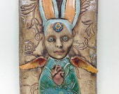Ceramic Wall Hanging, Bunny Angel Clay Tile, Pottery Decor, Winged Rabbit, Strange Collage Creature, Anthropomorphic,  Wings, Art Ceramic