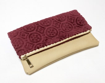Foldover Clutch Bag - velvet handbag -  Folded zipper pouch - Fold Over handbag - Handmade with Love from vintage upholstery fabrics