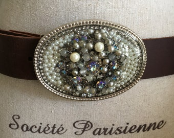 Belt buckle handmade pearls and rhinestones old pin