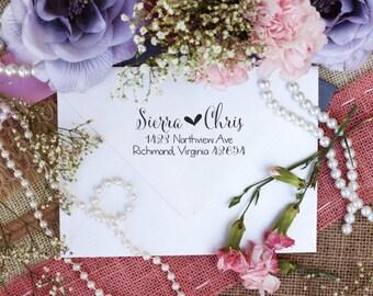 Self Inking Return address stamp, Self Inking Script Heart Font, Custom rubber stamps Self Inking --5423