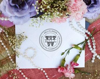 Self inking Custom monogram return address rubber stamp --2972