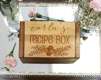Personalized Recipe Box, Custom Recipe Box with Flower Design, Engraved Wood Recipe Box --6813