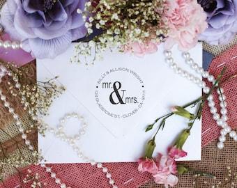 Self Inking Custom Return Address Mr. and Mrs. Rubber Stamp --2583
