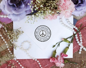 Self Inking Peace love and happiness custom return address rubber stamp Peace Sign stamp --2518