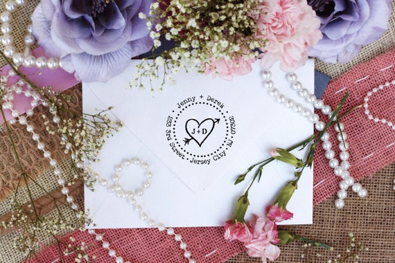 Clear Block Heart with initials love custom return address stamp for address labels block mounted --2368