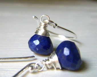 Lapis Gemstone Earrings Sterling Silver, Wirewrapped Petite Genuine Gemstone, Navy Royal Blue Stone, Minimalist Dangle Onion Briolette