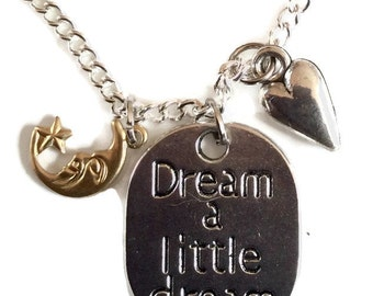 Dream a little dream silver tone pendant and necklace chain 46cm