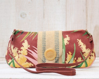 ON SALE Vintage Barkcloth Clutch in Browns and Yellows