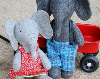 Elephant pattern, Parsley & Beet: girl elephant, sewing pattern,elephant doll, boy elephant, elephant plush, elephant softie