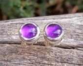 Amethyst Stud Earrings, Purple Amethyst Earrings, February Birthstone Earrings, Purple Stone Studs, Handcrafted rustic jewelry