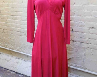 Vintage Seventies Full Length Cherry Red Maxi Dress by Victor Costa LTD / Semi Formal Hostess Gown  / Size Small