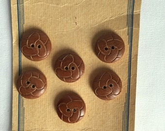 Vintage Brown Wooden Buttons with Engraved Detailing on Original Card - Set of 6