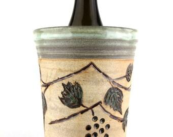 Wine Chiller  - Wine Bottle Chiller-Pale Green - Handmade wheel thrown pottery