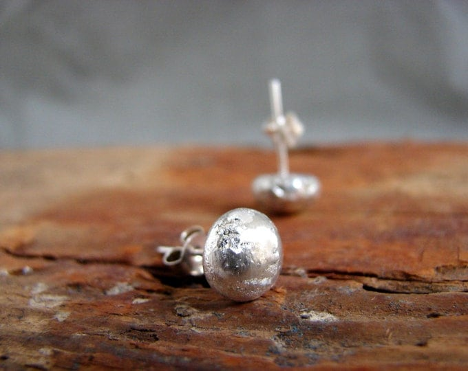 Silver Ball Earrings Rustic Studs Minimalist Urban Earrings  Modern Silver Earrings Pebble Earrings Gifts for Her Under 50