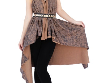 Agoraphobix oversized street warrior leather print all in one tunic  | Vest |  shirt | hoodie |dress