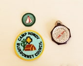 vintage Moonrise Kingdom set of boy scout set of bakelite compass and badges
