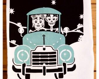 Day of the dead, Dia de los Muertos, Amor Para Siempre, Skeleton Bride and Groom cotton tea towel.