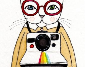 CAT Art Watercolor Painting ACEO Cats and Cameras Original Folk Art Painting
